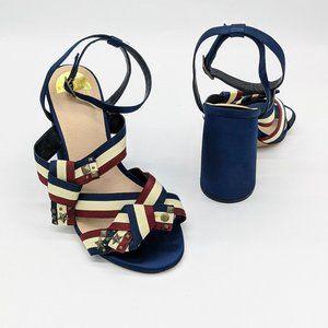 Eloquii Women's Blue Cream Red Striped Studded Jules Block Heels Size 11 Wide